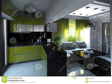interior design concept rendering 3d open concept kitchen and living room 3d rendering stock