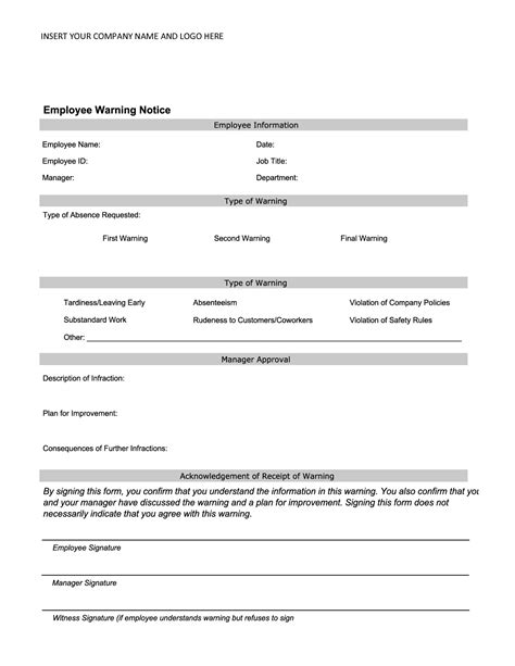 Employee Warning Template by Best Photos Of Product Warning Template Written Verbal