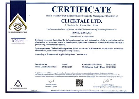Clicktale ISO 27001 Certification