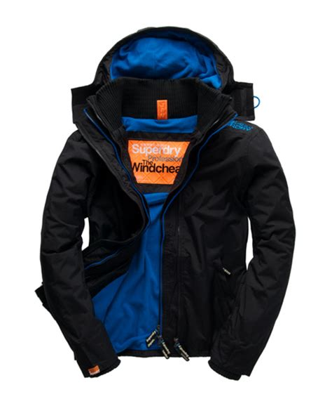 Jaket Windcheater Blue Black Chelsea mens arctic windcheater in black fluro blue superdry