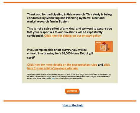 Home Depot Survey Sweepstakes - home depot survey guide customer survey assist