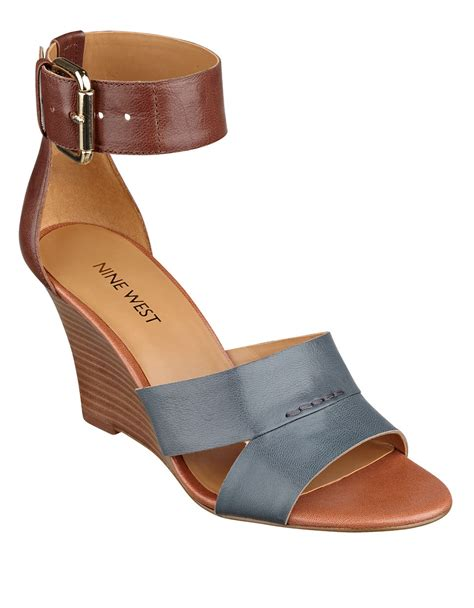 nine west sandal wedges nine west checkmayt leather wedge sandals in blue lyst