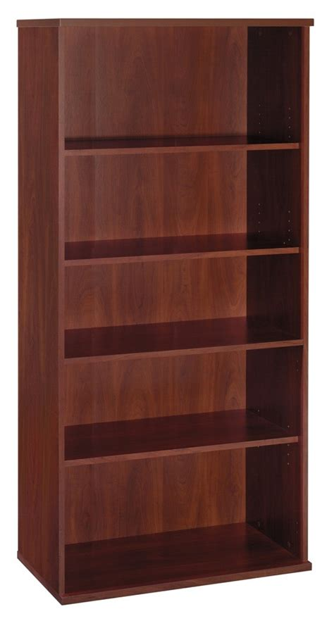 series c hansen cherry 36 inch 5 shelf bookcase from bush