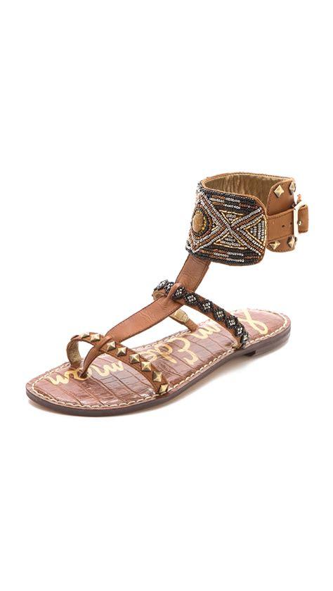 brown ankle sandals sam edelman gabrianna ankle cuff sandals in brown lyst