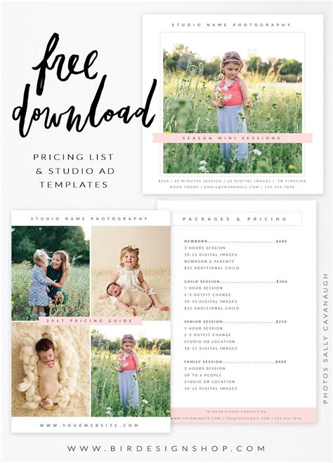 Free Pricing List Studio Ad Templates Photography Lessons Tips Pinterest Free Templates For Photographers
