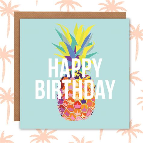tropical cards tropical pineapple birthday card by paper plane