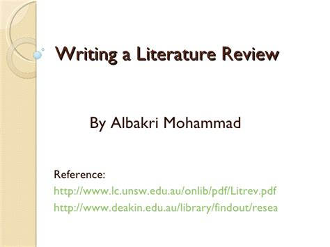 Literature Review On Promotional Activities by Writing A Literature Review
