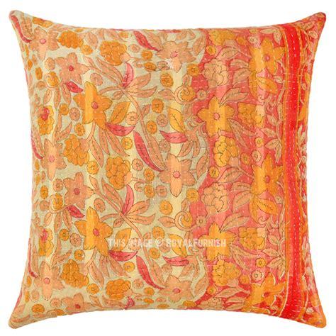 Handmade Throw Pillows - orange unique one of a handmade vintage kantha throw