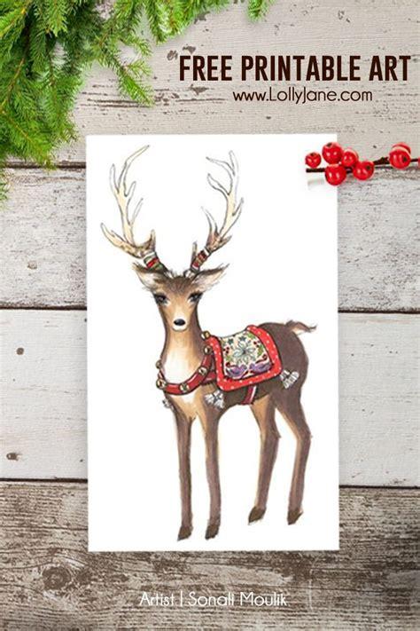 printable reindeer card free christmas reindeer art lolly jane