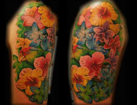 tropical flower bird parrot tattoo by jackie rabbit a