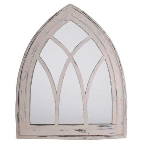 white wash wooden gothic arch mirror by garden selections notonthehighstreet com