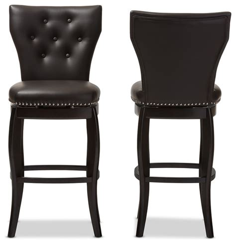 tufted leather bar stool leonice faux leather button tufted 29 inch swivel bar