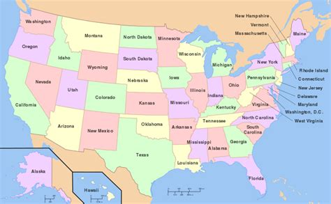 map of usa showing different states outline of the united states