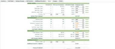 proposal tool for landscapers lawn estimate calculator