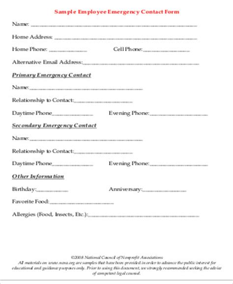 Sle Employee Emergency Contact Form 7 Exles In Word Pdf Emergency Contact Form Template For Employees