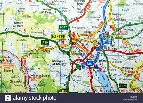 map uk exeter road map of exeter stock photo royalty