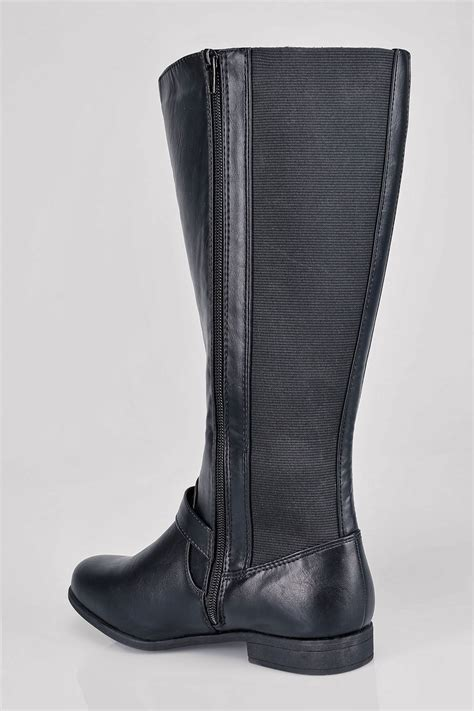 Md Owl Fit Xl black knee high boots with buckle detail with xl
