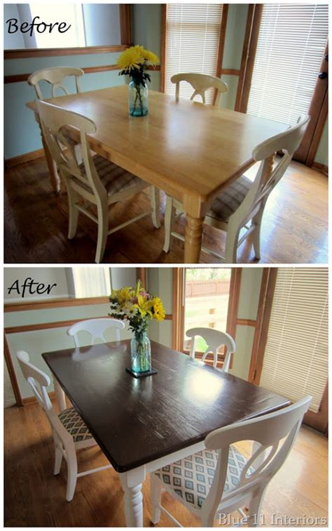Diy Dining Room Table Makeover Dining Table Makeover Before And After Top With Light White Legs This Look Diy
