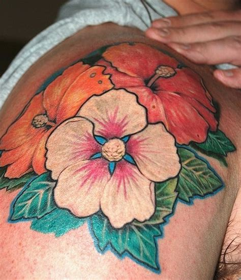hawaiian flower tattoos for men hawaiian flower on shoulder for tattoos book