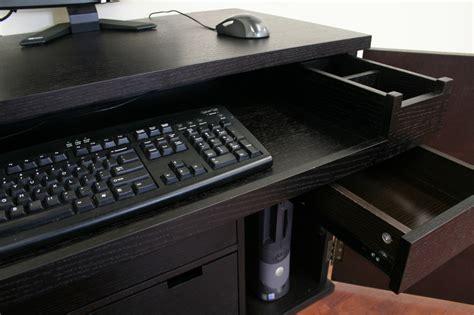 Concealed Computer Desk Black Wood Concealed Computer Desk Cabinet Table Modern Ebay