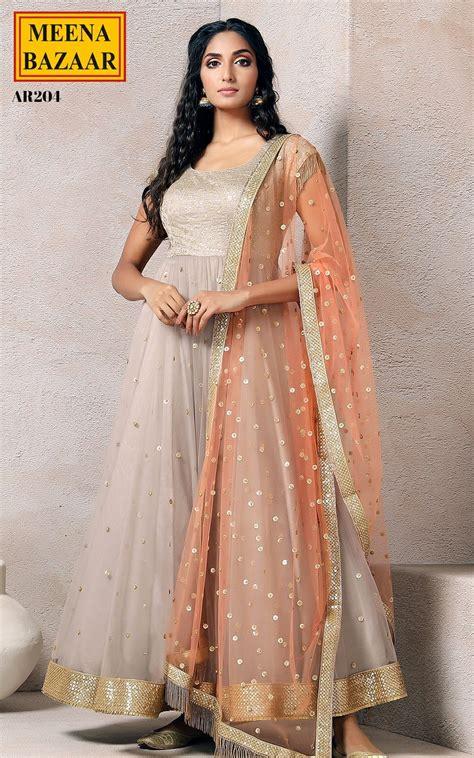 designer saree anarkali suits online buy designer saree grey net anarkali set online shopping for ethnic wear buy