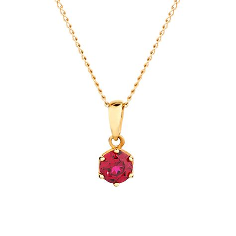 ruby gold necklace pendant with created ruby 10kt yellow gold