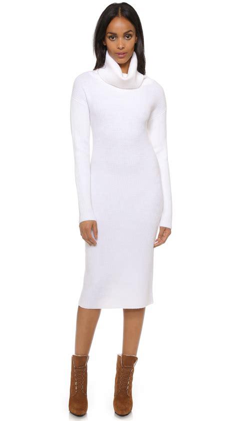Turtleneck Sleeve Dress lyst dkny sleeve turtleneck dress in white
