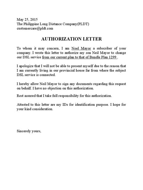 Authorization Letter House letter format for address proof from house owner fresh pldt authorization letter sle ssoft