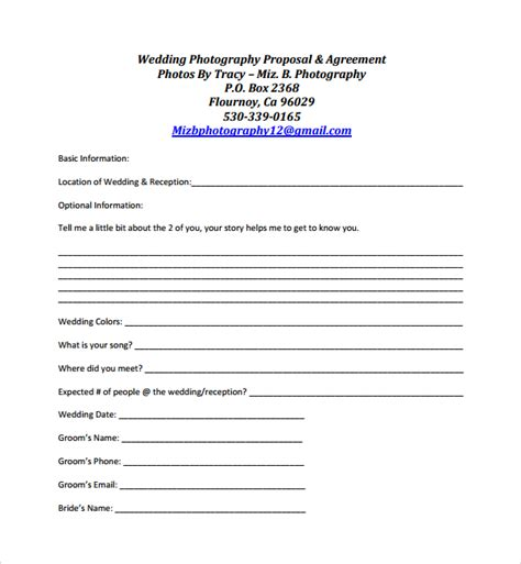 Photography Proposal Template Template Business Bid Template Pdf