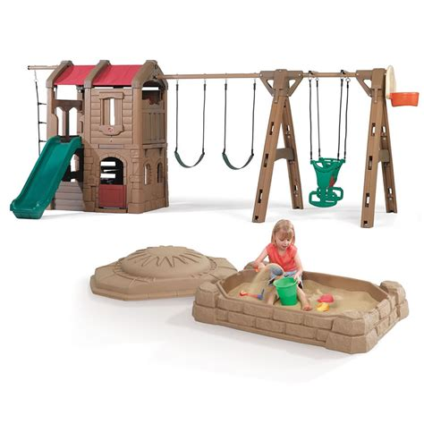 step 2 swing and slide combo step2 adventure lodge play center with glider and sandbox