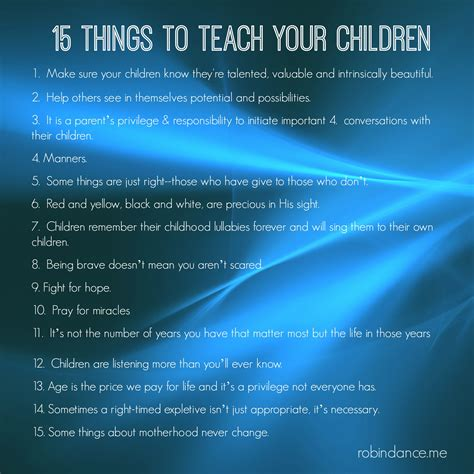 mama s way 15 things to teach your children robin dance