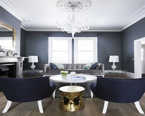 old world french decor navy blue and gray grey white and