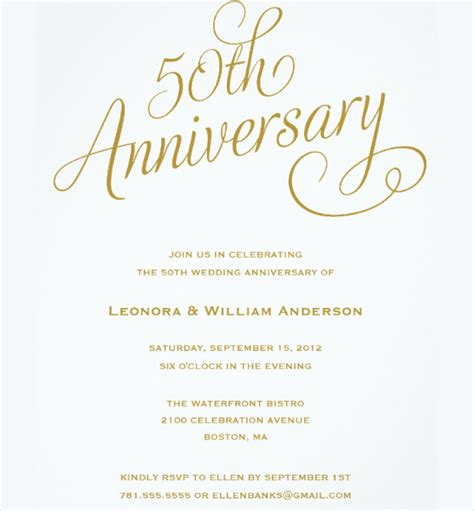 Free 50th Anniversary Invitation Templates golden wedding invitation template wedding invitation ideas
