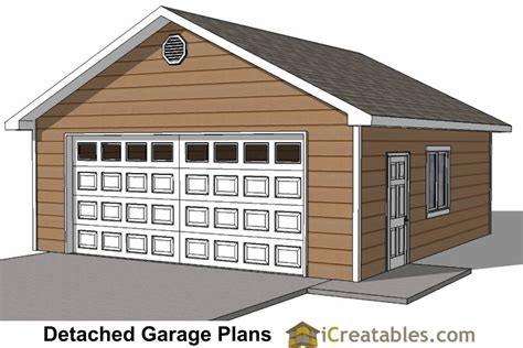 2 Car Detached Garage Plans 22x26 2 car 1 door detached garage plans