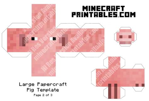 Paper Crafts For Printable - pig printable minecraft pig papercraft template