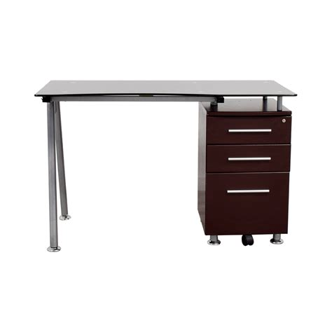 glass top office desk with drawers tables used tables for sale