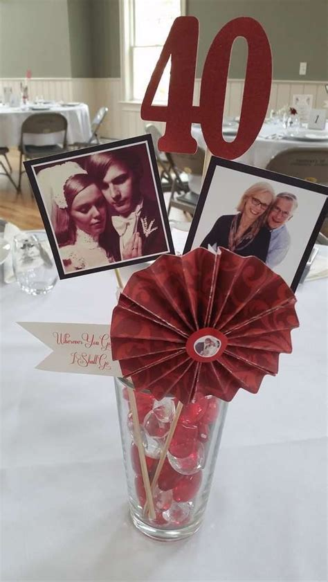 DIY centerpieces for 40th wedding anniversary party   Peg