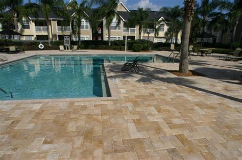pool deck pavers paver pool deck travertine from orlando brick pavers inc