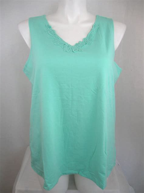 plus size knit tops susan graver plus size stretch cotton knit tank top with