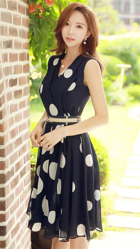 styleonme polka dot v neck sleeveless dress polkadot navy dress korean dress