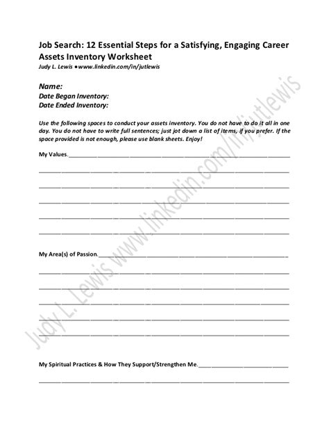 Step One Worksheet Of 12 Steps by Assets Inventory Worksheet Search 12 Essential Steps