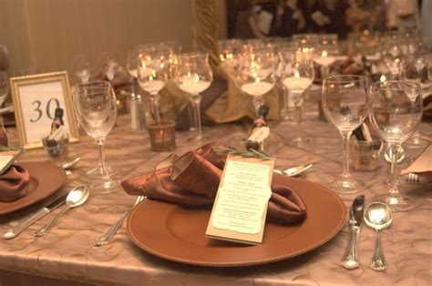 Copper Color Scheme Wedding Table Decorations