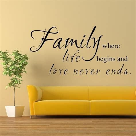 Living Room Quotes For Wall - ٩ ۶family where begins never ends family