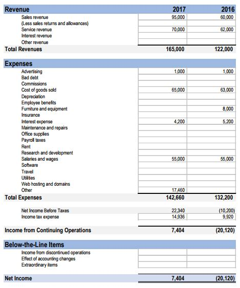 free income statement template income statement template excel free