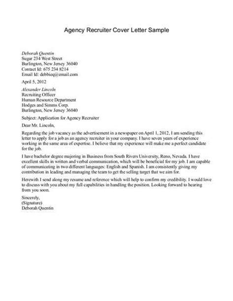cover letter for recruitment recruiter cover letter sle the best letter sle