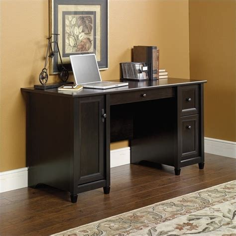Sauder Edge Water Computer Armoire Computer Desk In Estate Black 408558
