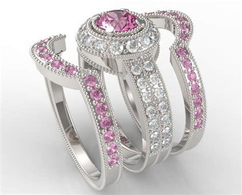 Filigree Pink Sapphire And Diamond Trio Wedding Band Set   Vidar Jewelry   Unique Custom