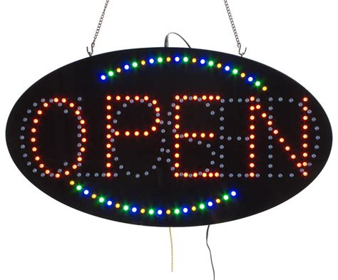 Led Sign Open oval open closed led signs blue green animation