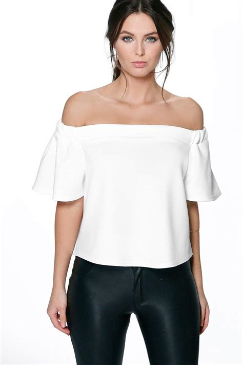 Jullie Shoulder Top by The Shoulder Scuba Frill Top At Boohoo