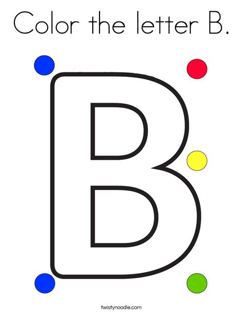 Letter B Coloring Pages by Color The Letter B Coloring Page Twisty Noodle